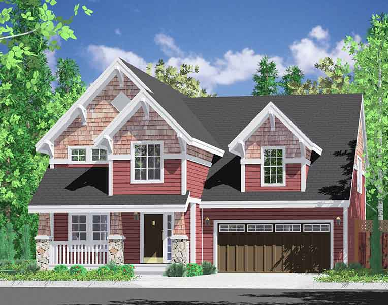 House front color elevation view for 10095 Large Bedrooms & Bonus rm w/ Daylight Basement 2 car garage den covered porch 40 wide 42 deep
