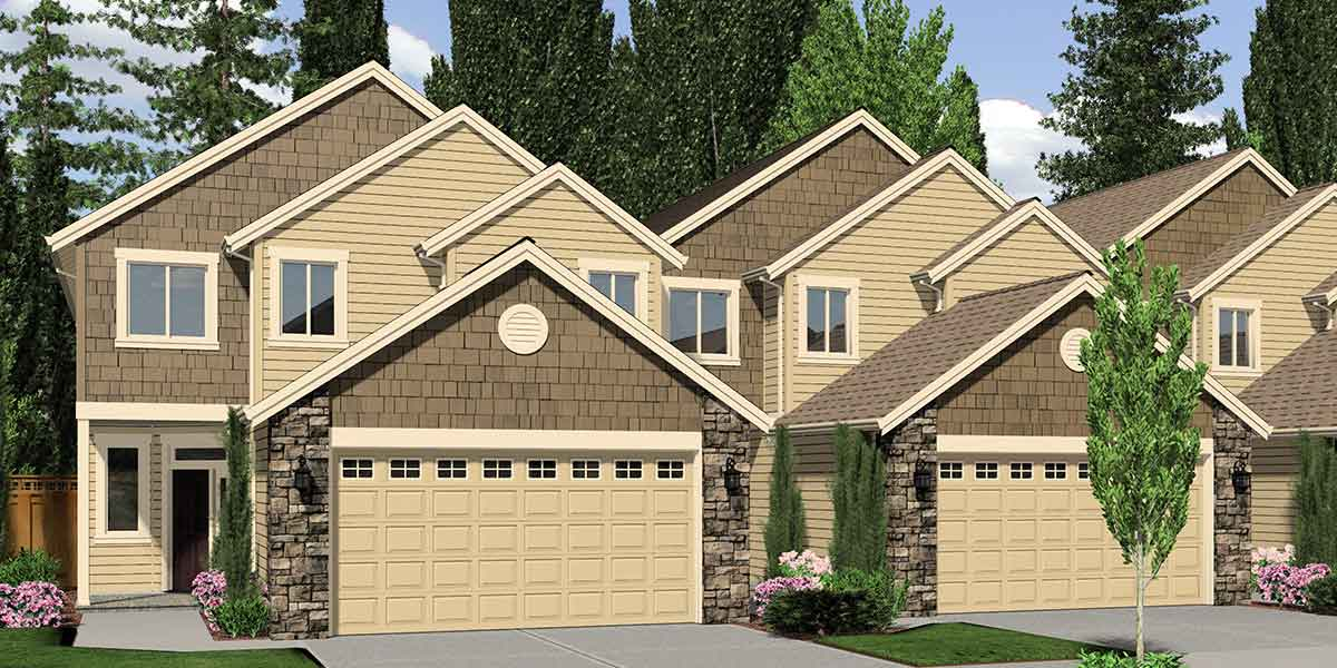 F-541 4 plex house plans, master bedroom on main, 4 unit townhouse plans