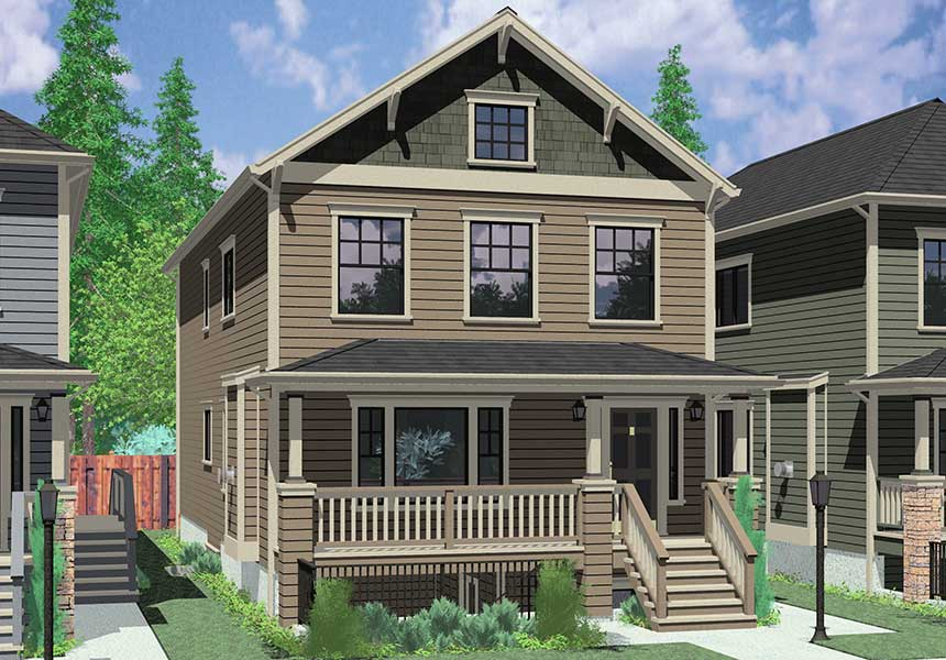 D-593 Multigenerational house plans, master on the main house plans, ADU house plans, mother in law house plans, Portland house plans, two master suites house plans, D-593