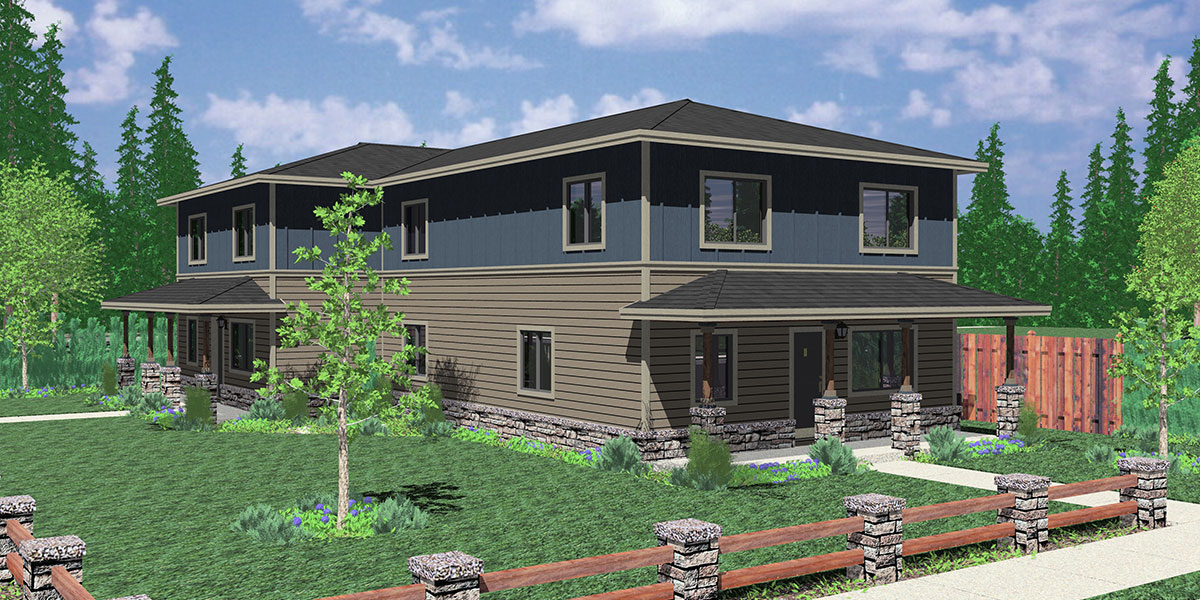 D-561 Duplex house plans, corner lot duplex house plans, D-561