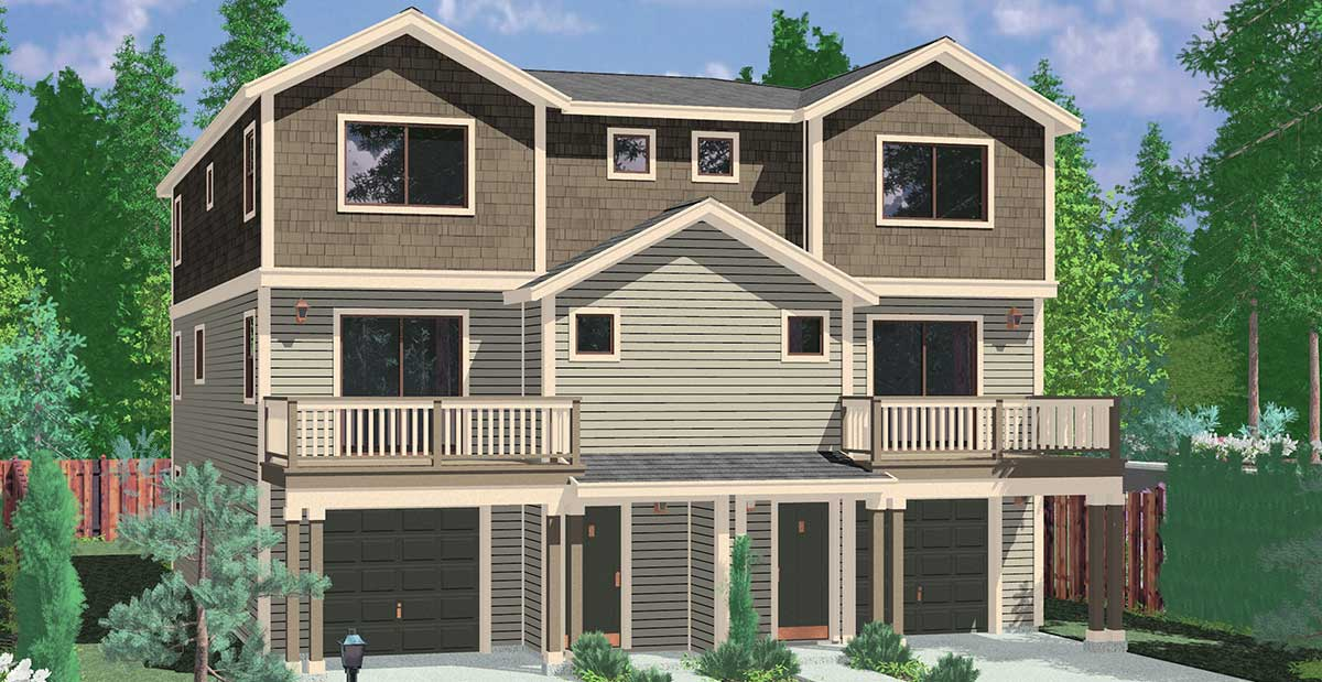 D-585 Townhouse Plans, Row House Plans, 4 Bedroom Duplex House Plans