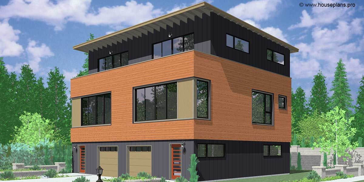 D-595 Modern Duplex House Plan With First Floor Studio