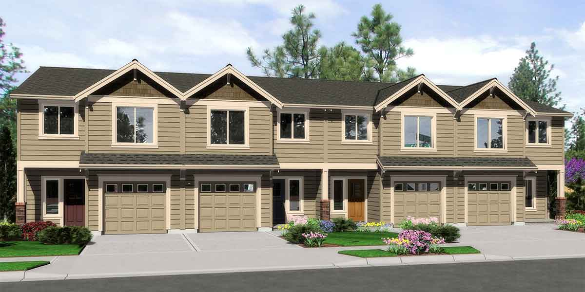 F-563 4 plex building plans, 4 bedroom house plans, row house plans, F-563