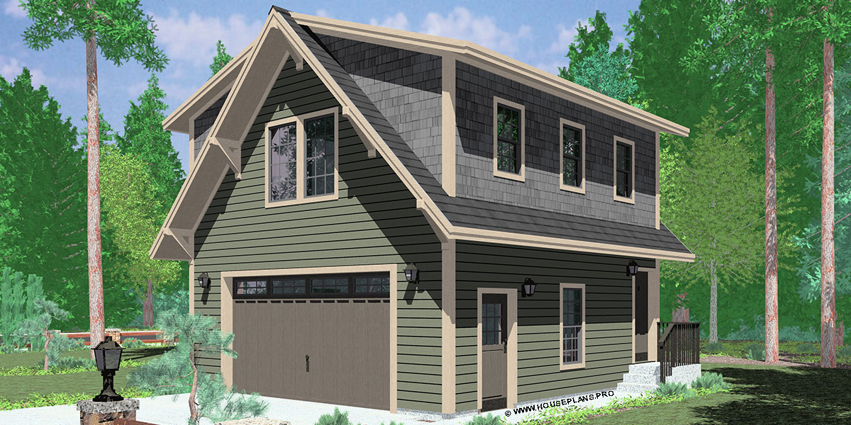 10154 Carriage house plans, 1.5 story house plans, ADU house plans, 10154