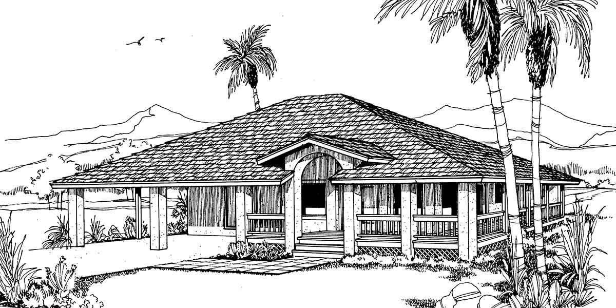 1185 Beach House Plan w/ wrap around porch