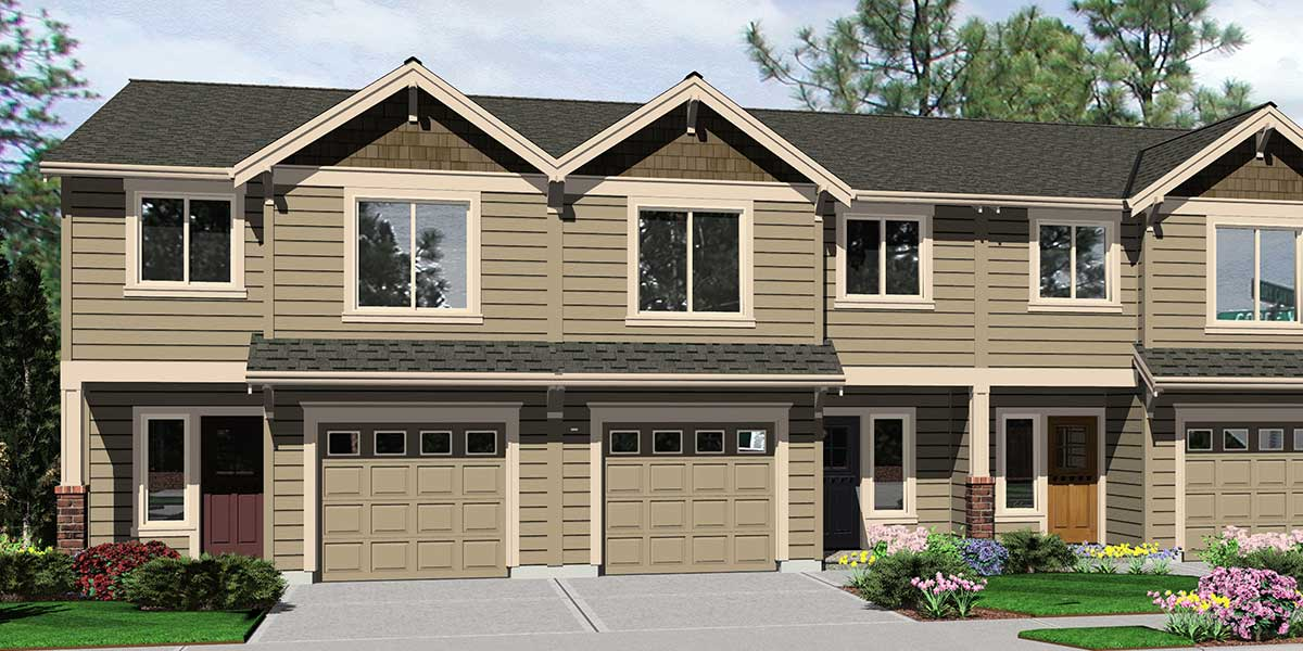 T-400 Triplex  house plans, triplex plans with garage, 20 ft wide house plans, T-400