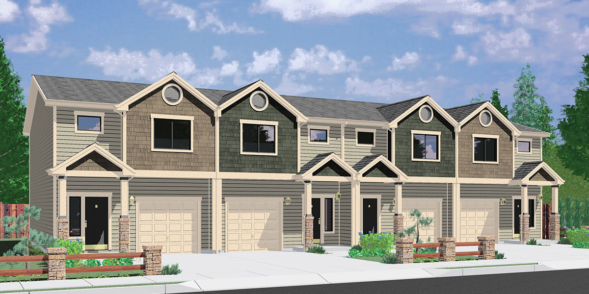 F-564 Four plex house plans, best selling floor plans, narrow lot townhouse plans, F-564
