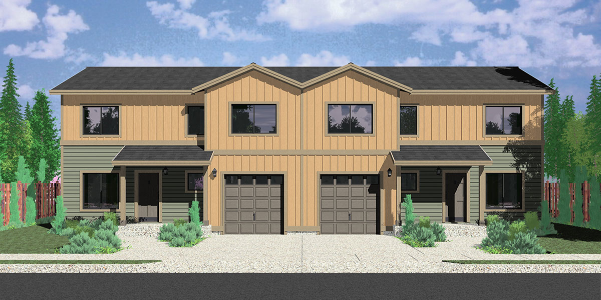 D-597 Duplex house plans, duplex plans with garages together, 3 bedroom duplex plans, Seattle house plans, D-597