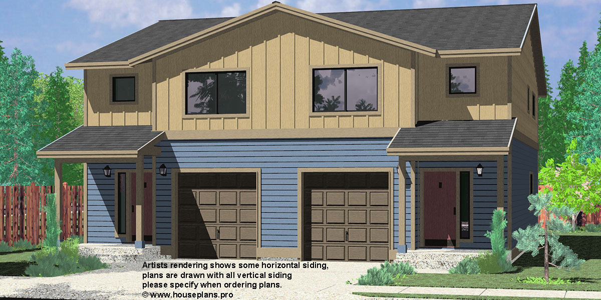 D-598 Duplex house plans, Seattle house plans, Duplex plans with garage, 3 Bedroom Duplex Plans, D-598