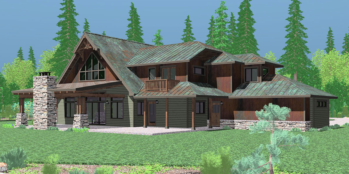 House front drawing elevation view for 10161 Timber frame house plans, craftsman house plans, custom house plans, 10161