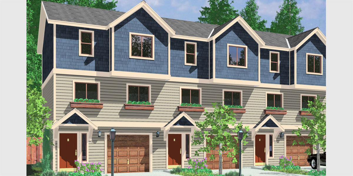 T-413 Triplex plans, small lot house plans, row house plans, 3 plex plans, triplex house plans with garage, T-413