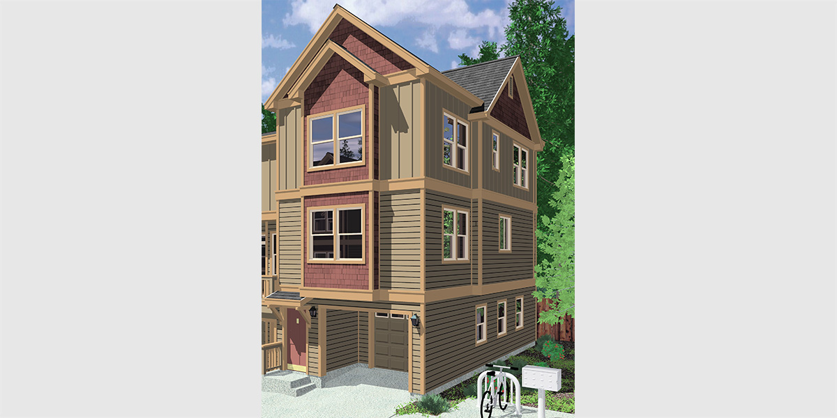 D-544 Duplex house plans, narrow lot duplex house plans, 3 story townhouse plans, duplex house plans with garage, row house plans, D-544