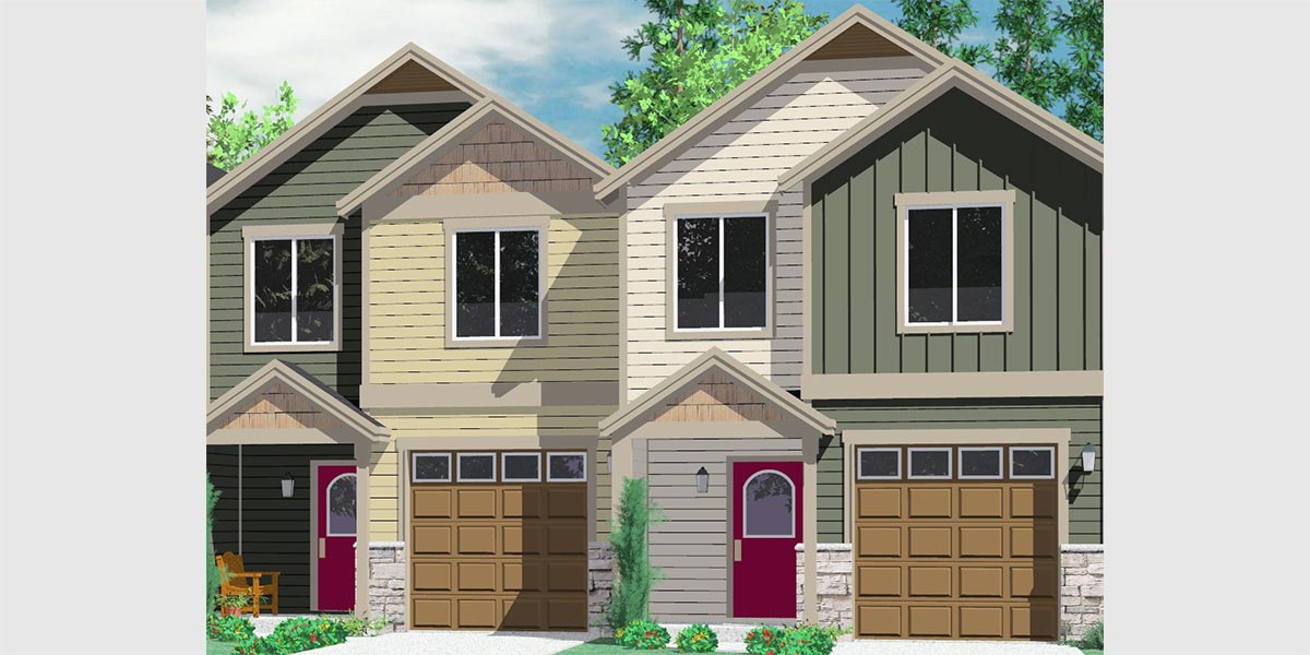 D-542 19 ft wide narrow duplex house plans, 2 story duplex floor plans, 3 bedroom duplex house designs, D-542