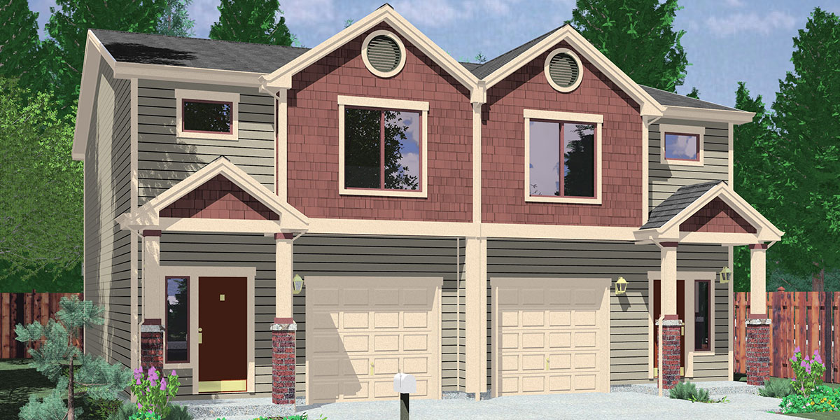 D-599 Duplex house plans, 2 story duplex plans, 3 bedroom duplex plans, 40x44 ft duplex plan, duplex plans with garage in the middle, D-599