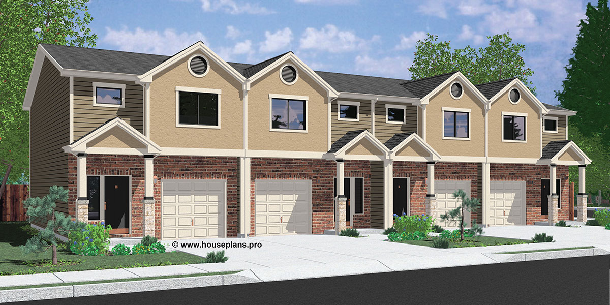 F-570 Fourplex house plans, 3 bedroom fourplex plans, 2 story fourplex plans, fourplex house plans with garage, brick fourplex plans, F-570