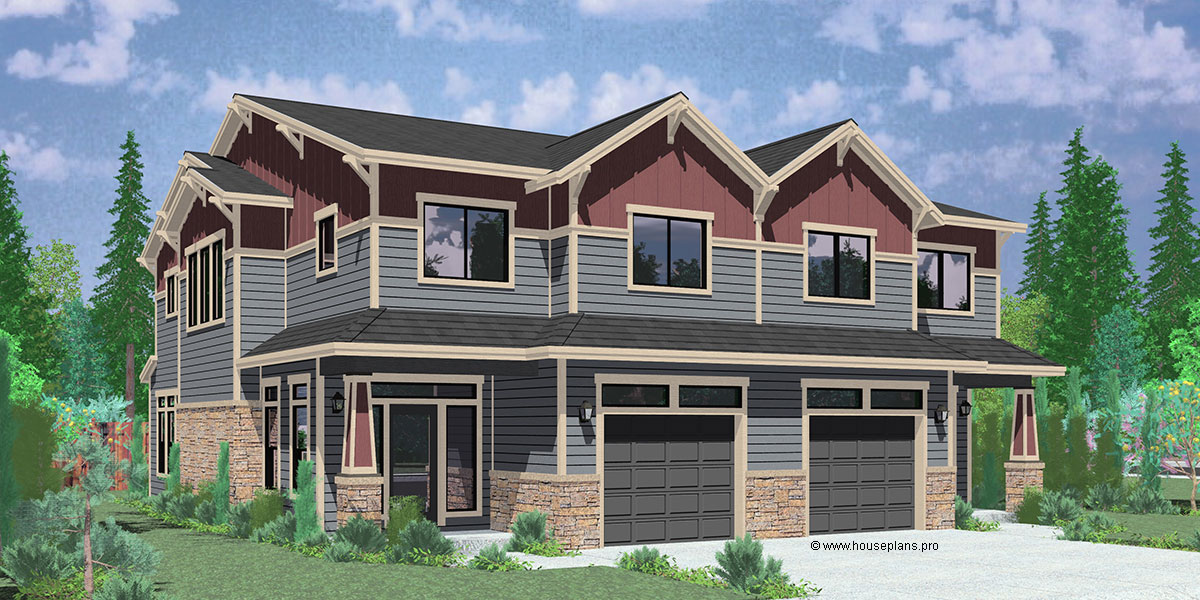 D-600 Craftsman duplex house plans, luxury duplex house plans, Hillsboro Oregon, house plans with loft, D-600