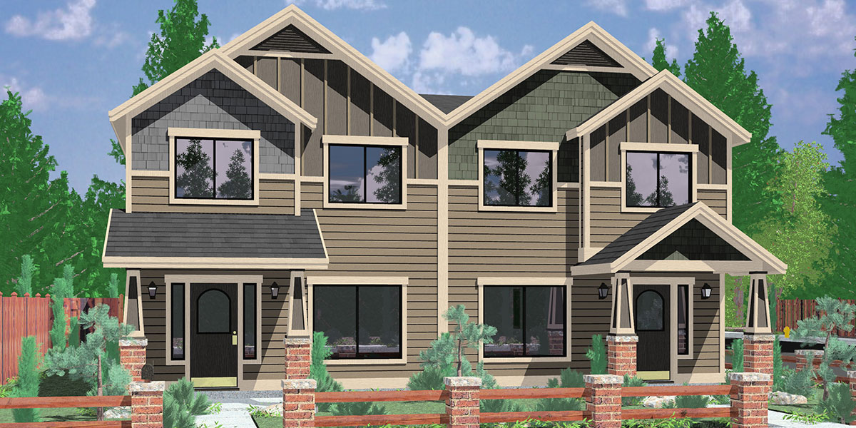 D-601 Craftsman duplex house plans, house plans with rear garages, 3 bedroom duplex house plans, narrow townhouse plans, D-601