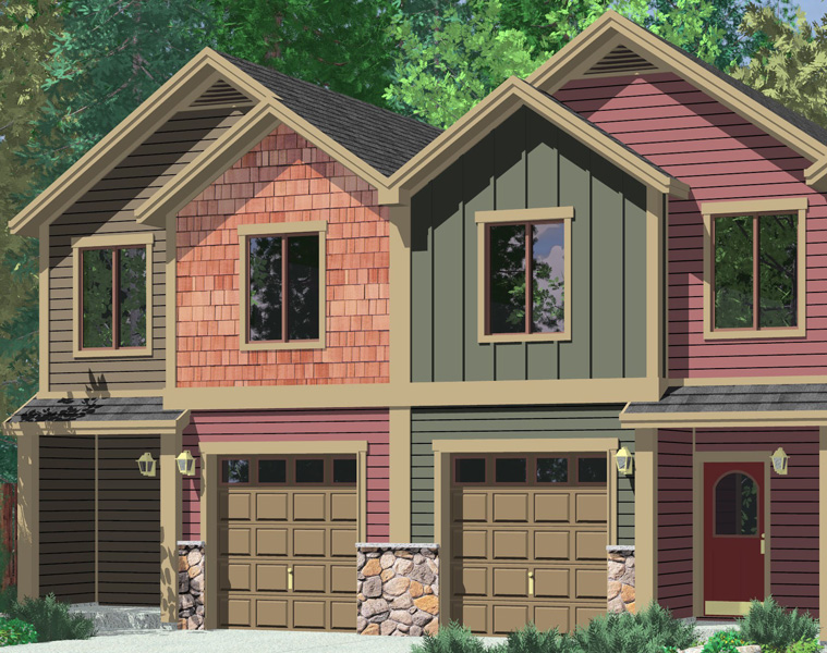 F-555 Four plex house plans, craftsman row house plans,F-555