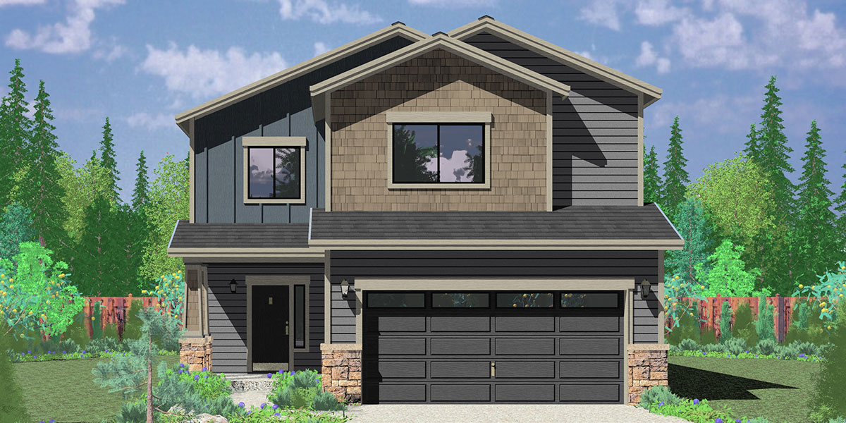 10179 Affordable 2 story house plan has 4 bedrooms and 2.5 bathrooms and a two car garage