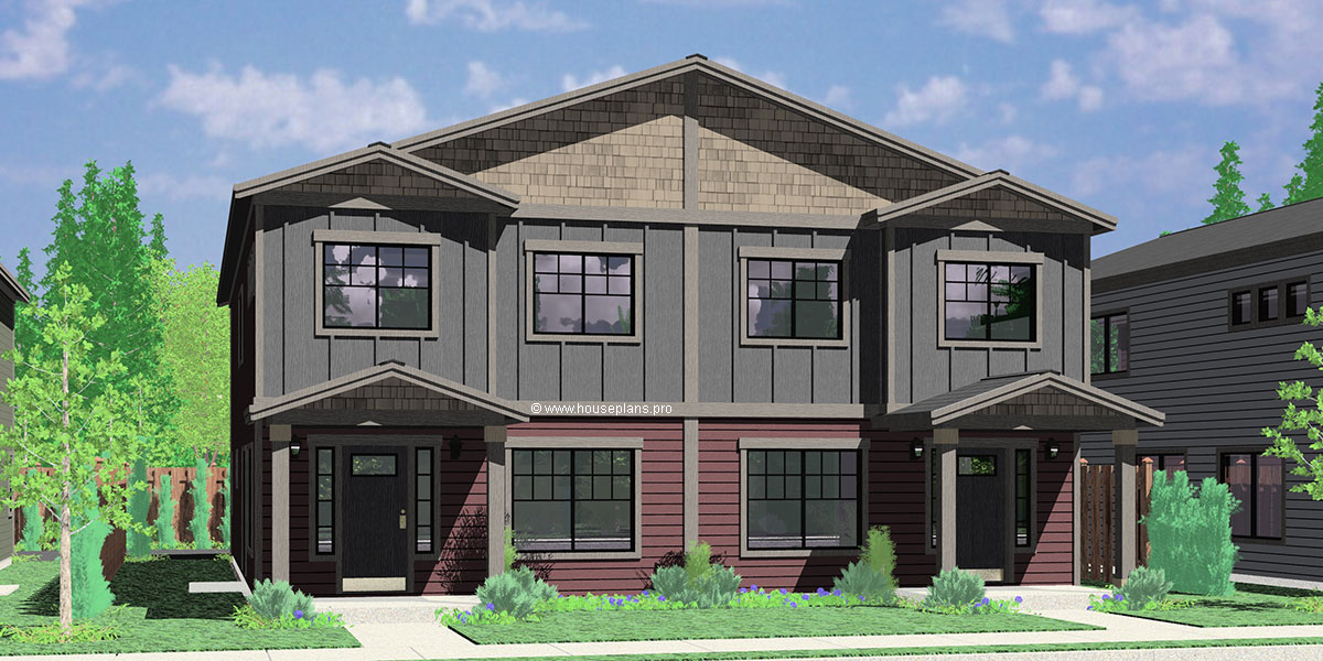 D-608 Duplex house plan with rear garage, narrow lot townhouse plan, D-608