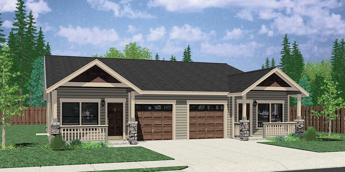 D-611 Narrow One Story Duplex House Plans, D-611