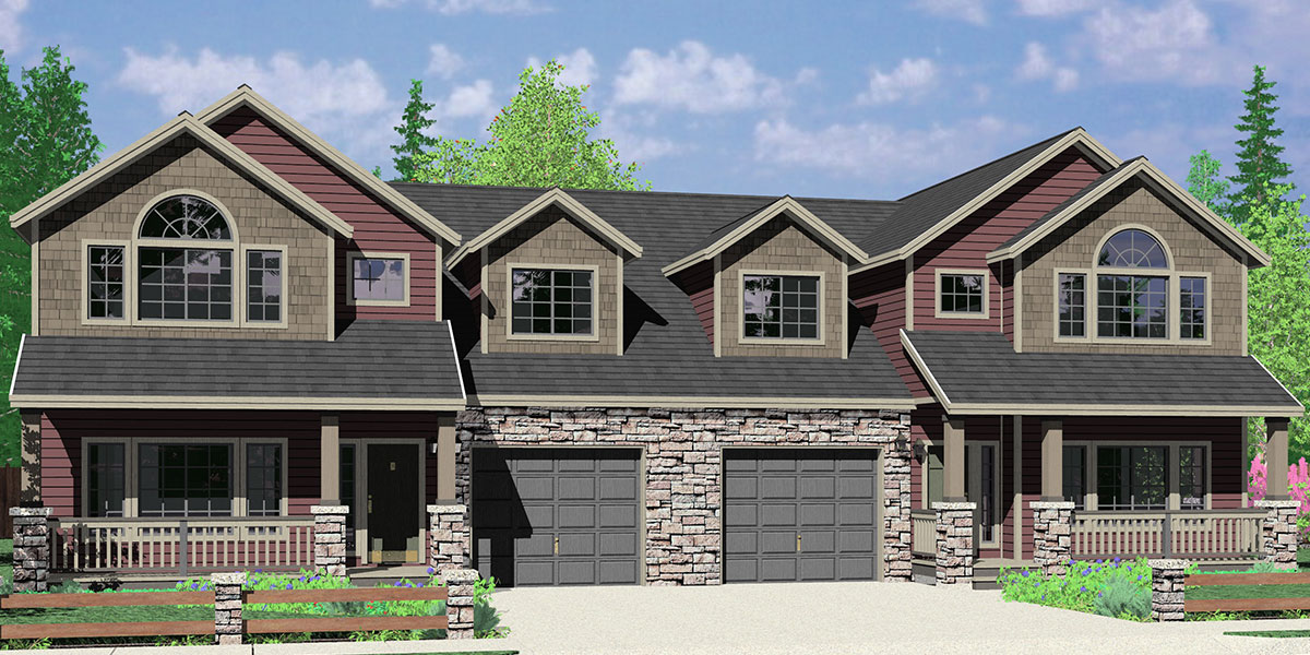 D-609 Craftsman luxury, duplex house plans, with basement, and shop, D-609