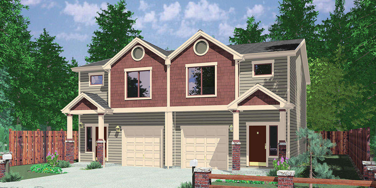 D-614 Duplex house plans with basement D-614