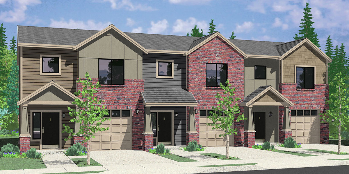 T-419 Triplex, Brownstone, Craftsman townhouse, T-419