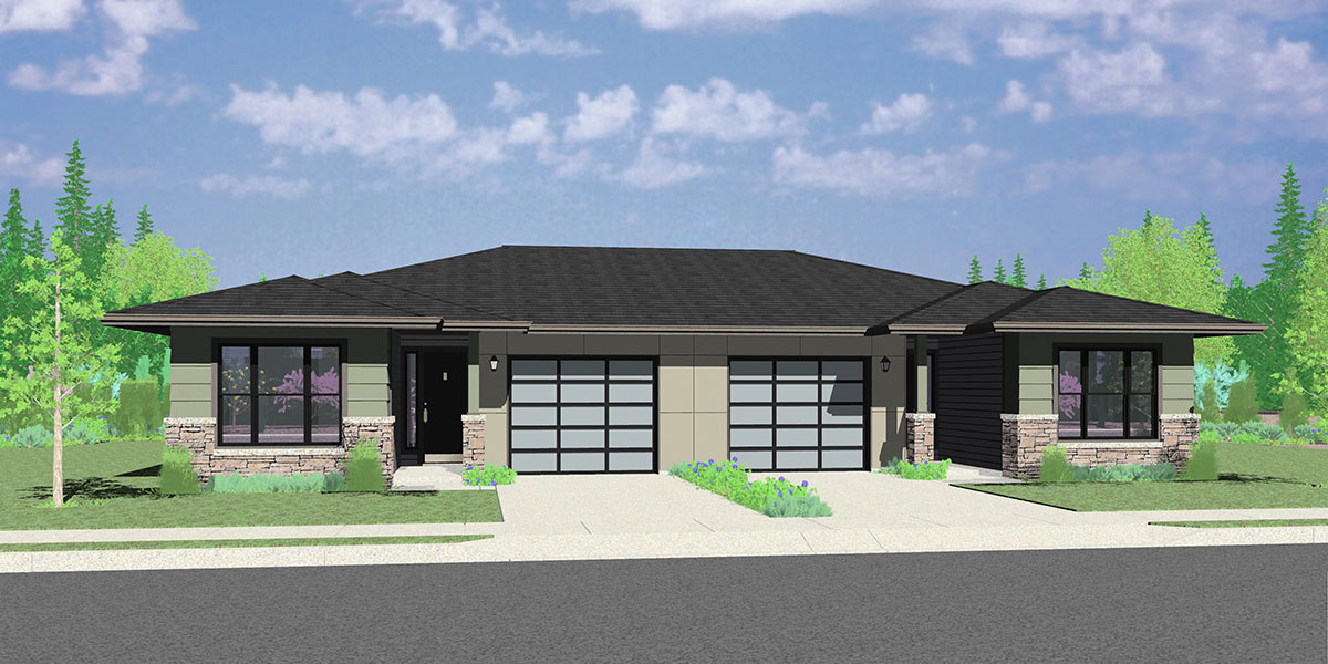 D-623 Modern Prairie Style, Ranch Duplex House Plan