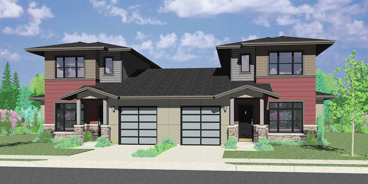 D-624 Modern prairie style, duplex house plan, master bedroom on the main floor