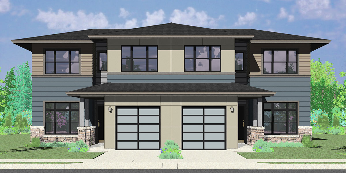 D-625 Modern prairie duplex house plan, 4 bedroom, master on the main floor