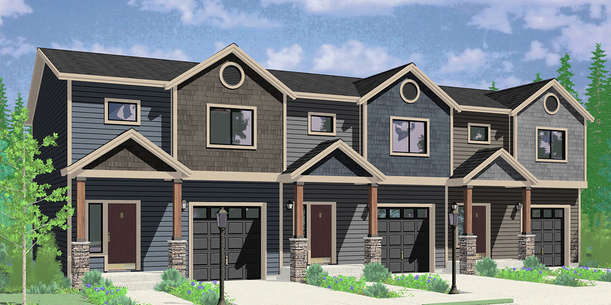 T-426 Triplex house plan with basement