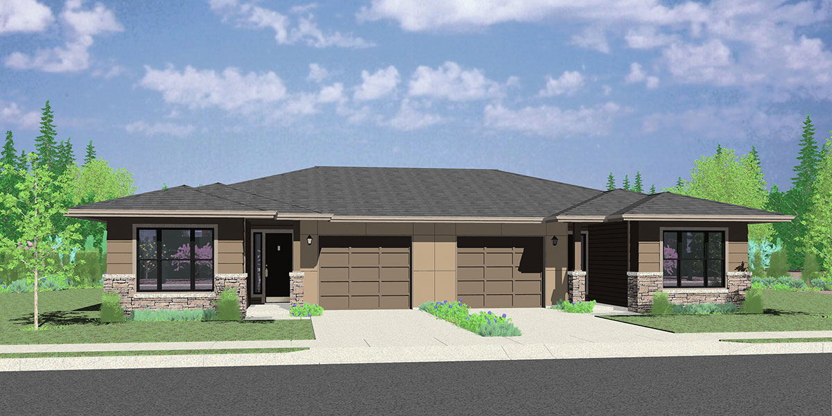 D-630 Modern Prairie Style House Plan - Ranch Duplex