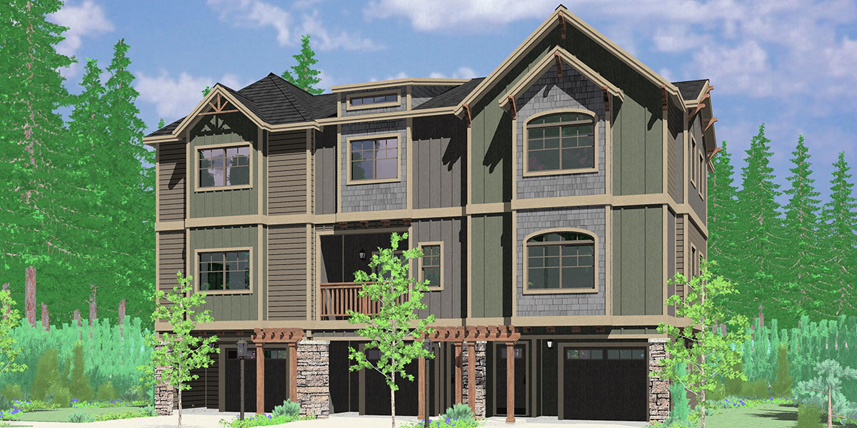 T-424 Triplex house plan 2 and 3 bedroom plans T-424