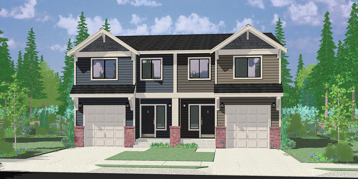 House front color elevation view for D-648 Sloping Lot Duplex House Plan
