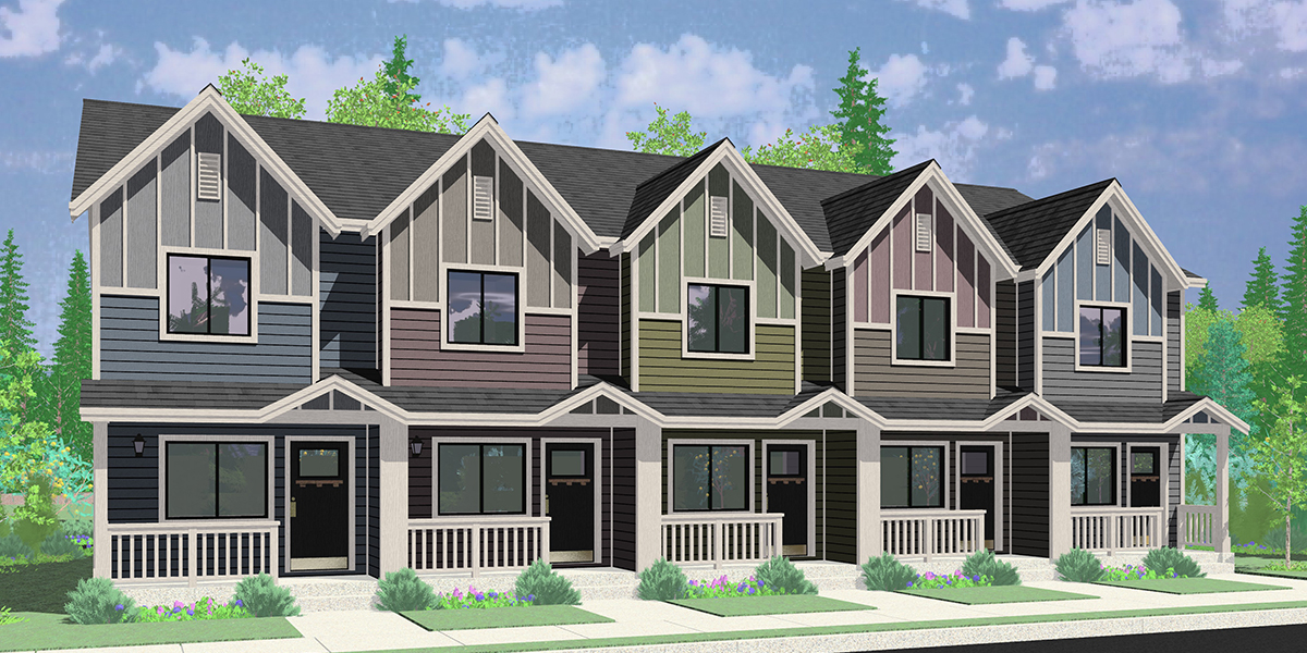 FV-594 Narrow 5 Plex Townhouse Plan