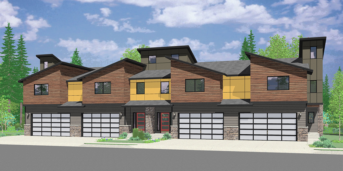 F-610 Luxury townhouse plan with 2 car garage F-610