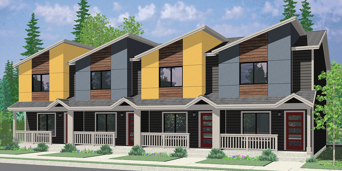 House front color elevation view for F-616 Modern town house plan w/ double master F-616