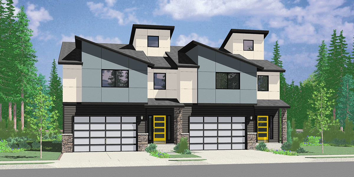 D-668 Two unit Modern town house plan D-668