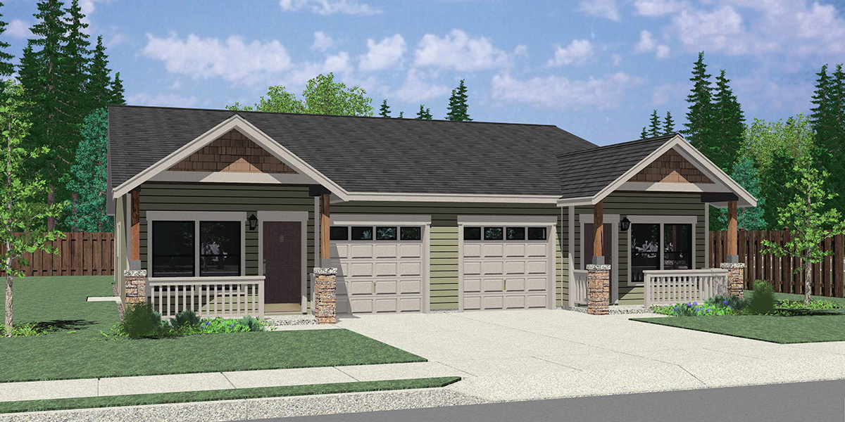 D-678 25 ft wide duplex house plan with garage 3 bed 2 bath plan D-678