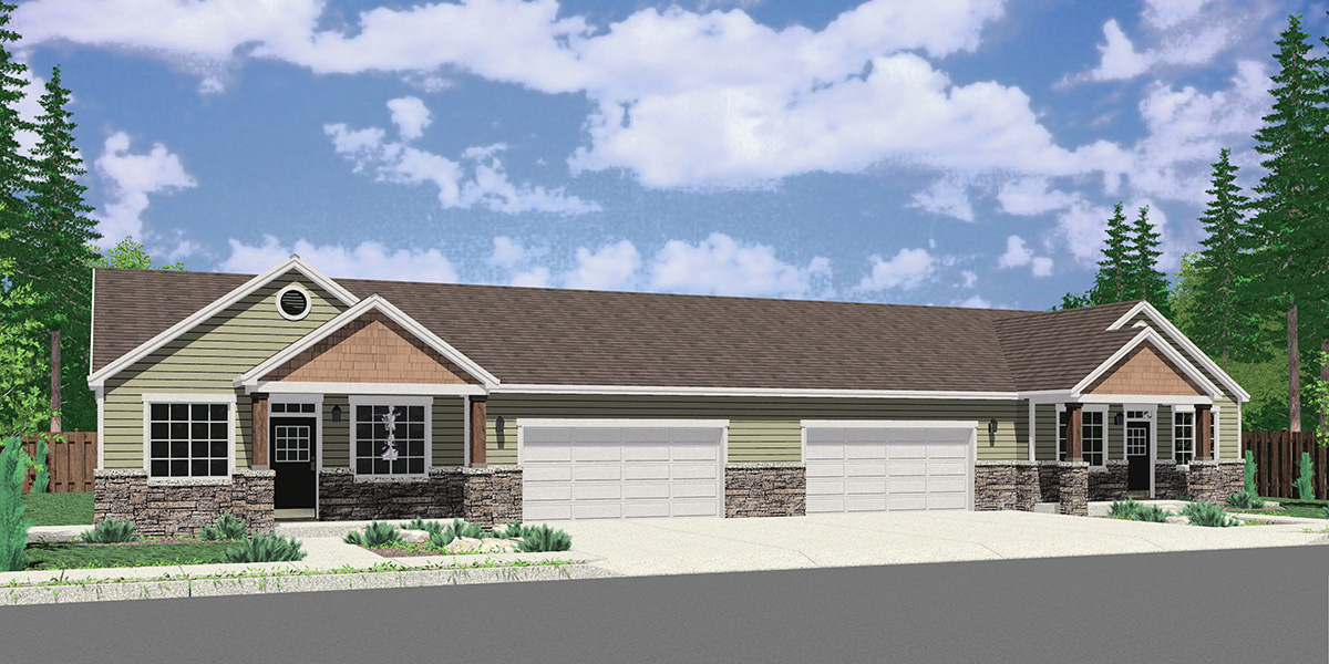 D-682 Ranch duplex house plan with 2 car garage 3 bedroom 2 bath D-682