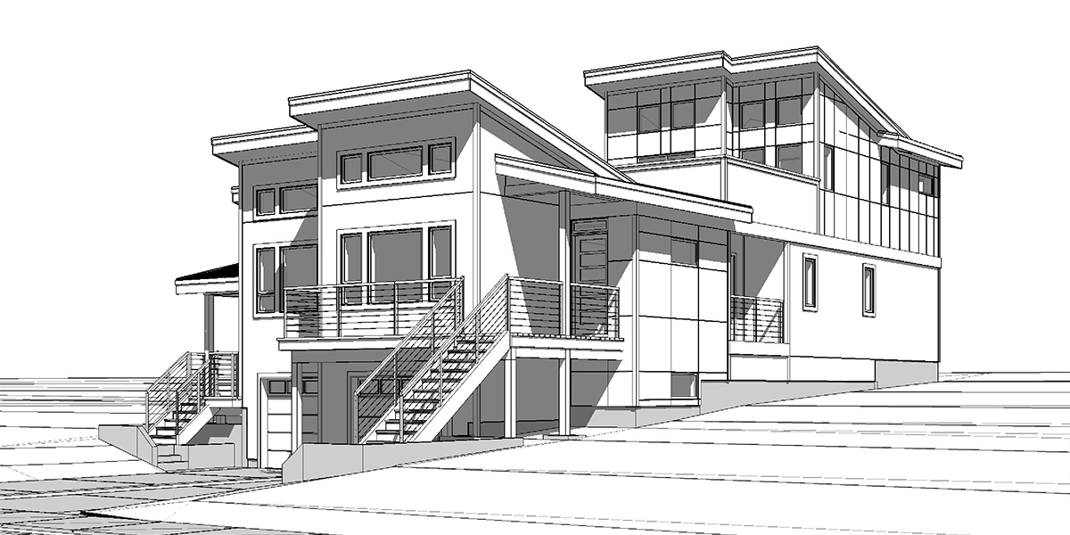 D-676 Modern Duplex house plan for great view lots