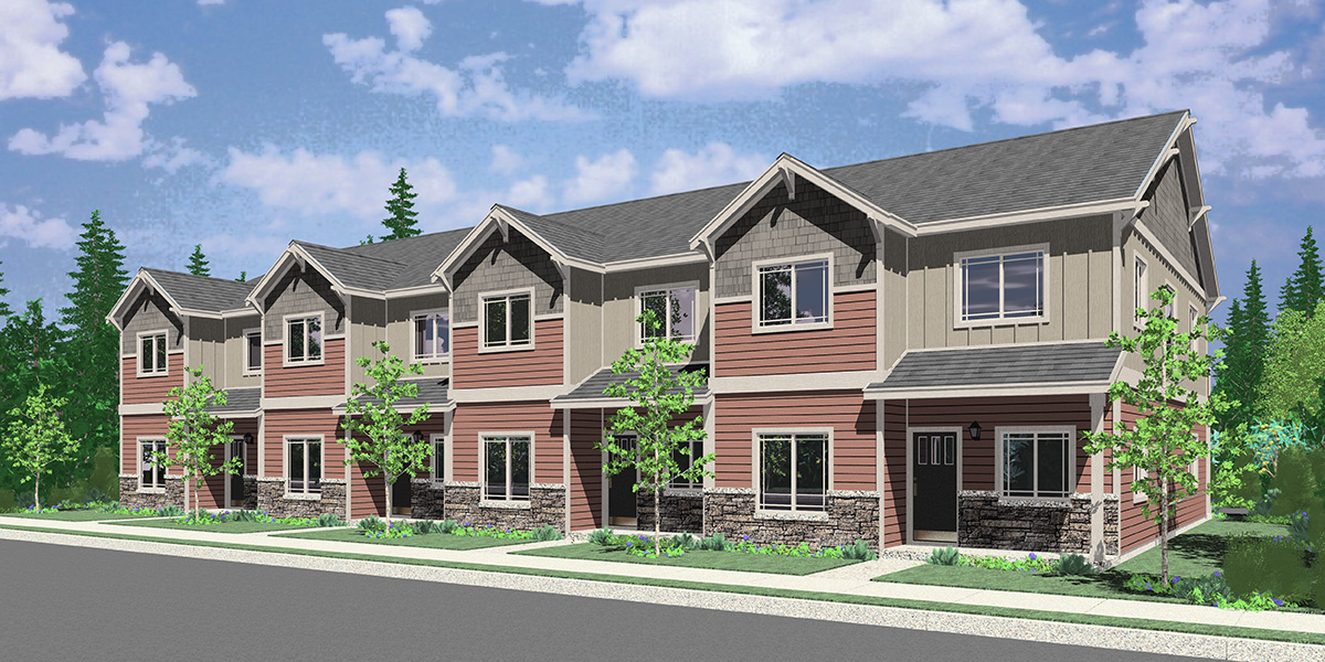 F-626 4 unit town house plan with rear garage and main floor bedroom F-626